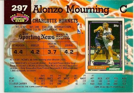 Alonzo Mourning 1992-93 Stadium Club Rookie Card Back