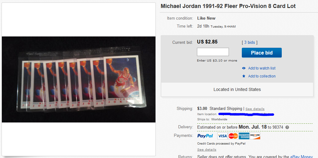 Michael Jordan 1991-92 Fleer Pro-Vision 8 Card Lot