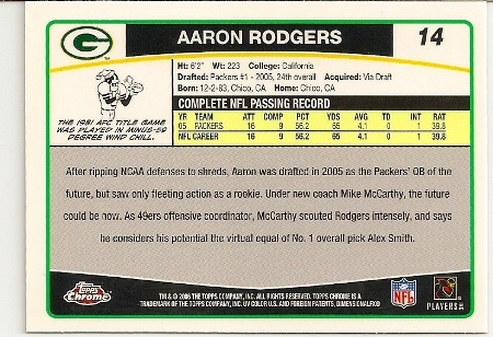 Aaron Rodgers 2006 Topps Chrome Card Back