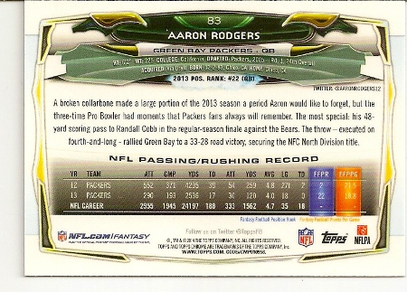 Aaron Rodgers 2014 Topps Chrome Refractor Card Back
