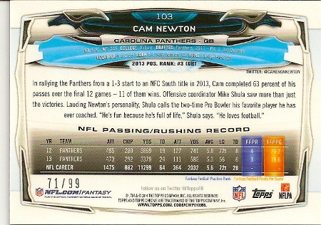 Cam Newton 2014 Topps Chrome Sepia Refractor Card Back