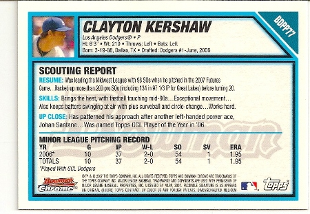 Clayton Kershaw 2007 Bowman Chrome Draft Rookie Card Back
