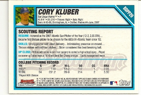 Cory Kluber 2007 Bowman Chrome Draft Rookie Card Back