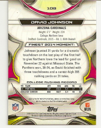 David Johnson 2015 Topps Finest Rookie Card Back