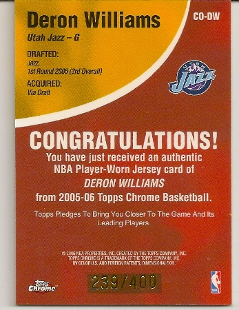 Deron Williams Topps Chrome Chosen One Patch Rookie Card Back