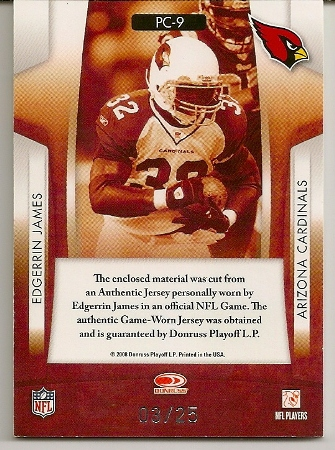 Edgerrin James 2008 Rookies & Star Prime Cuts Jersey Patch Card Back