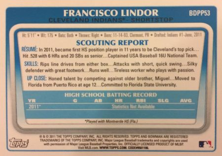 Francisco Lindor 2011 Bowman Draft Picks & Prospects Rookie Card Back