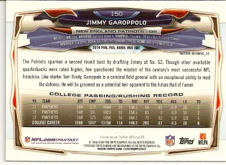 Jimmy Garoppolo 2014 Topps Chrome Rookie Card Back
