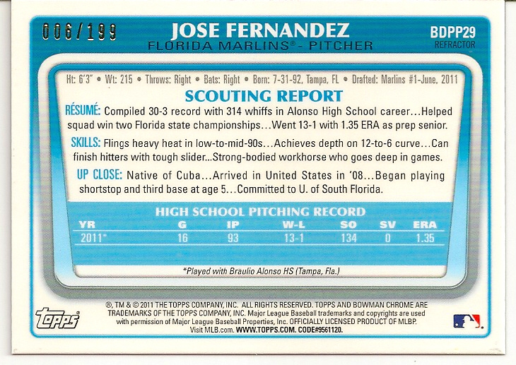 Jose Fernandez 2011 Bowman Chrome Blue Refractor Card Back