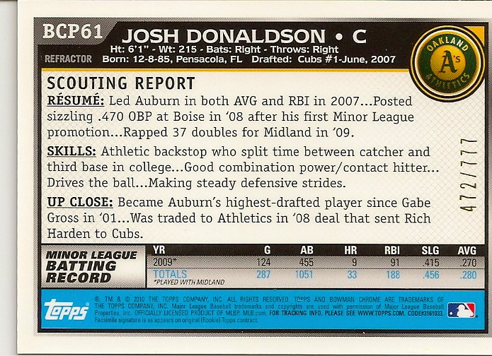 Josh Donaldson 2010 Bowman Chrome Refractor Rookie Card Back