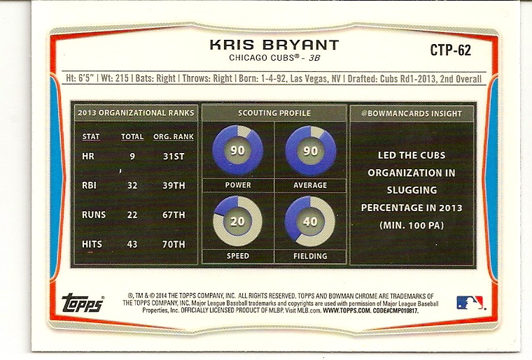 Kris Bryant 2014 Bowman Chrome Refractor Rookie Card Back