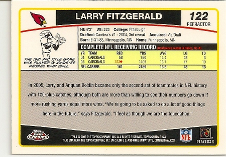 Larry Fitzgerald 2006 Topps Chrome Refractor Card Back