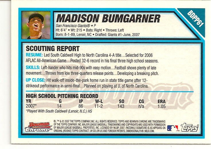 Madison Bumgarner 2007 Bowman Chrome Draft Rookie Card Back