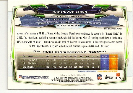 Marshawn Lynch 2014 Topps Chrome Refractor Card Back
