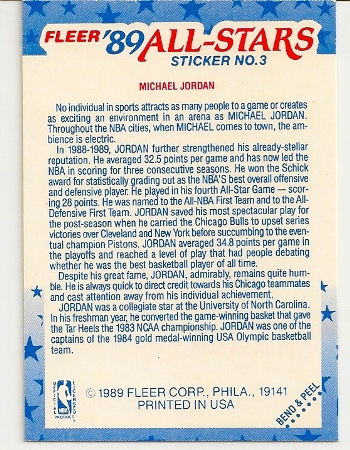 Michael Jordan 1989-90 Fleer Sticker Card Back