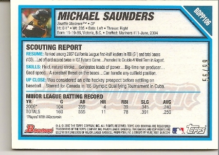 Michael Saunders 2007 Bowman Draft All-Star Futures Game-Used Patch Card Back
