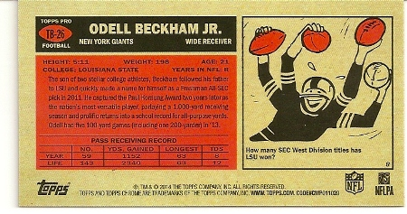 Odell Beckham, Jr 2014 Topps Chrome 1965 Rookie Card Back