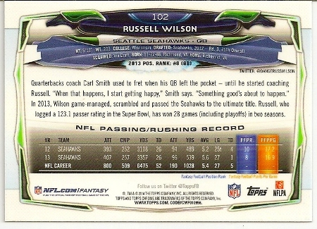 Russell Wilson 2014 Topps Chrome Card Back