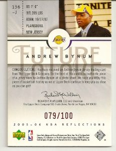 Andrew Bynum 2005-06 Upper Deck Reflections Red Rookie Card Back