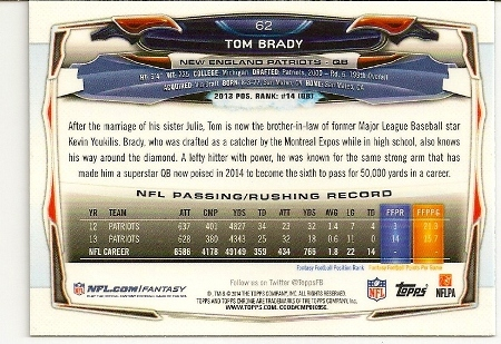 Tom Brady 2014 Topps Chrome Card Back