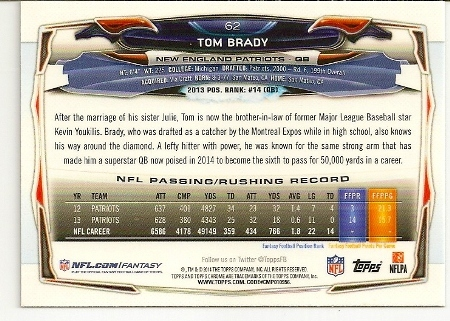 Tom Brady 2014 Topps Chrome XFractor Card Back