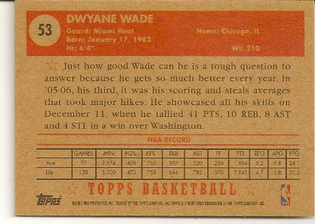 Dwyane Wade 2005-06 Topps 52 Style Basketball Card Back
