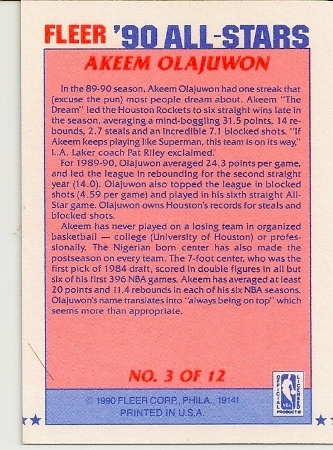 Akeem Olajuwon 1990-91 Fleer All-Star Basketball Card Back
