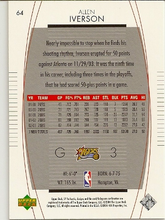 Allen Iverson 2003-04 Sp Authentic Basketball Card Back