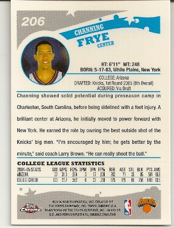 Channing Frye 2005-06 Topps Chrome Rookie Card Back