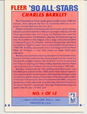 Charles Barkley1990-91 Fleer All-Star Basketball Card Back