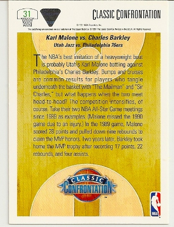 Charles Barkley Vs. Karl Malone1991-92 Upper Deck Classic Confrontation Card Back