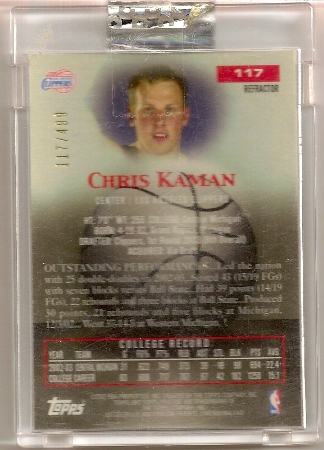 Chris Kaman 2003-04 Topps Pristine Refractor Rookie Card Back /499
