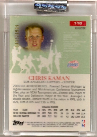 Chris Kaman 2003-04 Topps Pristine Refractor Rookie Card Back
