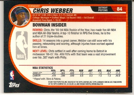 Chris Webber 2007-08 Bowman Chrome Basketball Card Back