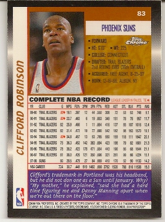 Clifford Robinson 1998-99 Topps Chrome Basketball Card Back