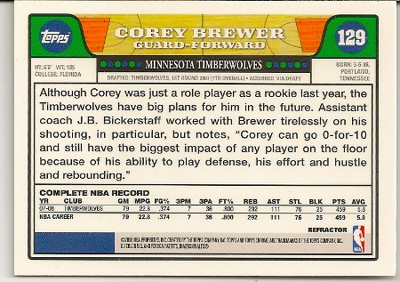 Corey Brewer 2008-09 Topps Chrome Refractor Card Back