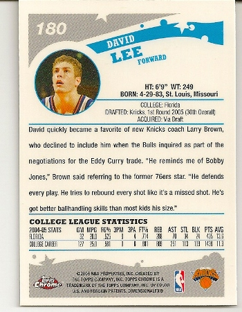 David Lee 2005-06 Topps Chrome Rookie Card Back
