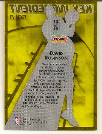 David Robinson 1997-98 Fleer Key Ingredient Gold Basketball Card Back