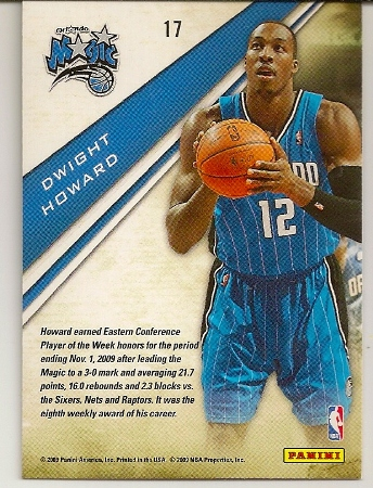 Dwight Howard 2009-10 Playoff Contenders Insert Basketball Card Back