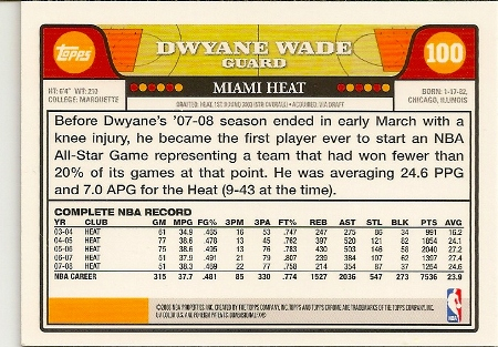 Dwyane Wade 2008-09 Topps Chrome Basketball Card Back
