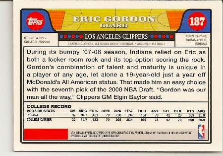 Eric Gordon 2008-09 Topps Chrome Rookie Card Back