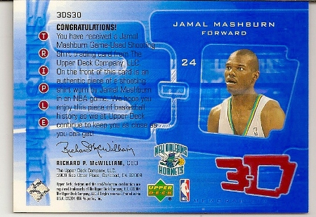 Jamal Mashburn 2003-04 Triple Dimensions Game-Used Jersey Insert Card Back