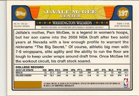JaValle McGee 2008-09 Topps Chrome Rookie Card Back