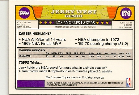 Jerry West 2008-09 Topps Chrome Basketball Card Back