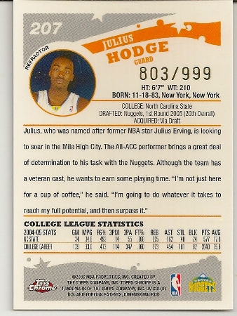 Julius Hodge 2005-06 Topps Chrome Refractor Rookie Card Back