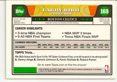 Larry Bird 2008-09 Topps Chrome Basketball Card Back