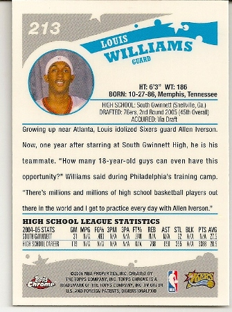 Louis Williams 2005-06 Topps Chrome Rookie Card Back