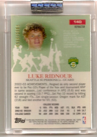 Luke Ridnour 2003-04 Topps Pristine Refractor Rookie Card Back