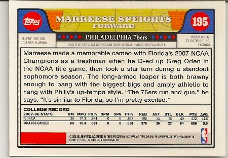 Marreese Speights 2008-09 Topps Chrome Rookie Card Back