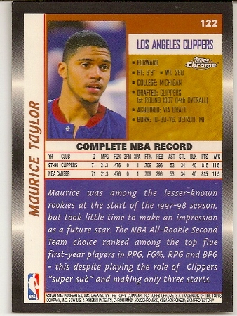 Maurice Taylor 1998-99 Topps Chrome Basketball Card Back